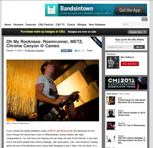 Oh My Rockness Showcase: METZ at Cameo Gallery- CMJ Click here to article in CMJ.com www.violetaalvarezphotography.com © Violeta Alvarez - all rights reserved