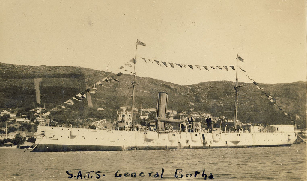 HMS Thames  renamed SATS General Botha  HMS Thames - Twin screw protected corvette. Named and launched at HM Dock Yard Pembroke December 2nd 1885. The ship did not see any action as a cruiser, and in 1903, was converted to a submarine depot ship.She was sold to the Jersey-born South African entrepreneur TB Davis, who purchased the ship in November 1920 as a memory to his son who died during World War I. He donated it to a trust, with the stipulation that it be used exclusively for the nautical training of British and South African boys, so that they could subsequently serve in ships of the British Empire.HMS Thames was renamed South African Training Ship (SATS) General Botha. She directly contributed to the establishment of the South African Navy. and was based at the Simonstown naval base.  Original (1525 x 903)