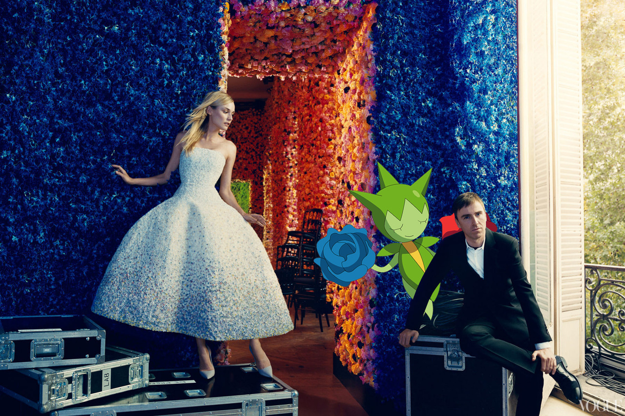 vogue september 2012; diane kruger, raf simons & roselia