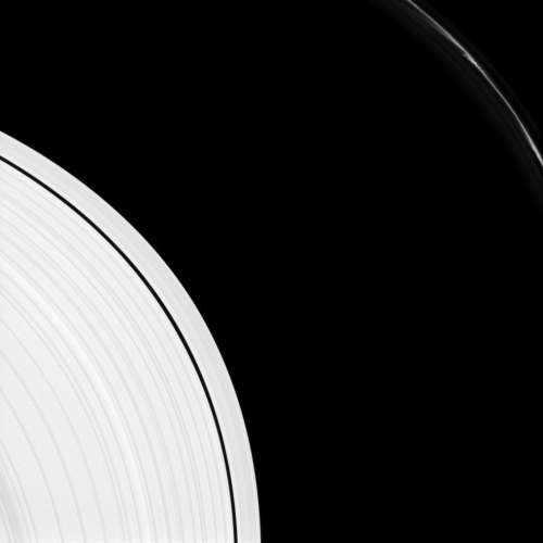 "Many Mini-Jets  Saturn's F ring shows several ""mini-jets"" near the upper-right of this image captured by the Cassini spacecraft. The A ring also appears in the lower-left of the image.  The mini-jets are thought by scientists to be caused by low-speed collisions in the core of the F ring ejecting dusty material from the core.  This view looks toward the sunlit side of the rings from about 10 degrees above the ringplane. The image was taken in visible light with the Cassini spacecraft narrow-angle camera on Aug. 14, 2012. The view was obtained at a distance of approximately 538,000 miles (867,000 kilometers) from Saturn and at a Sun-Saturn-spacecraft, or phase, angle of 10 degrees. Image scale is 3 miles (5 kilometers) per pixel."