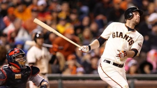 Giants score early knockout, advance to World Series (Photo: Christian Petersen / Getty Images) The party started early in San Francisco. Hunter Pence doubled home two runs with a slicing, broken-bat hit during a five-run third inning that chased Kyle Lohse, and the San Francisco Giants took a 7-0 lead over the St. Louis Cardinals in the decisive game of the NL championship series Monday night and never looked back. Read the complete story.