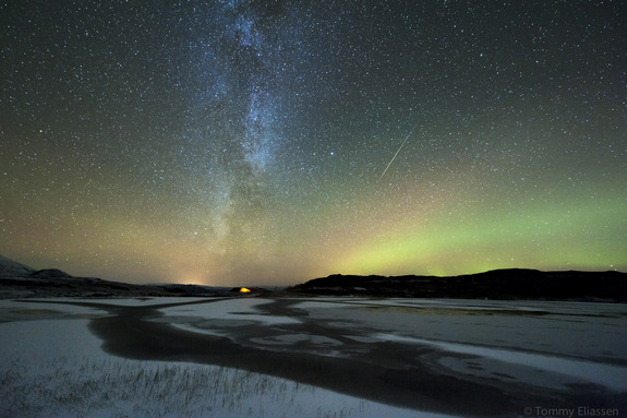 Orionid Meteor Shower 2012: Auroras by Tommy EliassenCredit: Tommy EliassenPhotographer Tommy Eliassen captured this spectacular view of an Orionid meteor streaking through the dazzling northern lights and Milky Way from his camp in Korgfjellet, Hemnes, Norway, on Oct. 20, 2012, during the peak of the 2012 Orionid meteor shower.