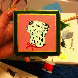 Dalmatian plaque #painting #dogs #dalmatian