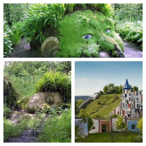 Oddest gardens. I only know the bottom left is England. The bottom right, the green/moss roof regulates temperature and water absorption vs. runoff.