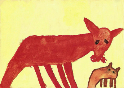 I paint a family of foxes. by Paint has come off - time-out on Flickr.I paint a family of foxes. opaque color on paper/  05/10/1974/  my collection