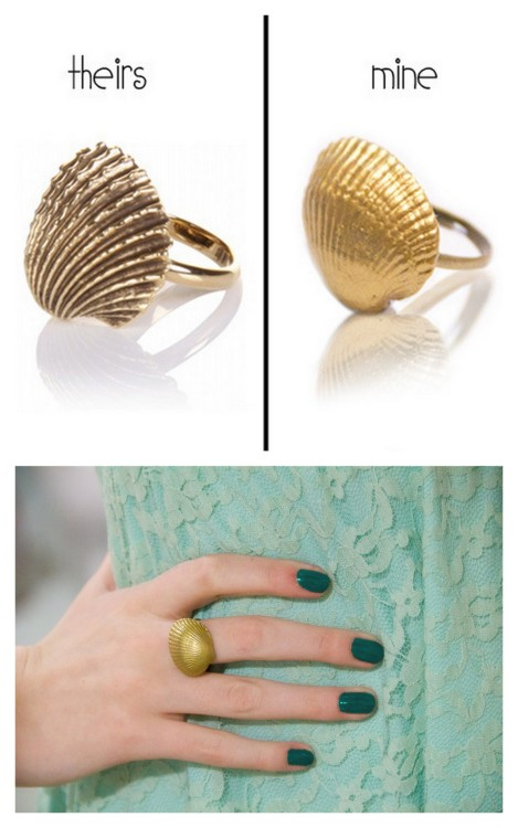 diychristmascrafts:  DIY Knockoff Fortalezza Shell Ring Tutorial from you want me to buy that? here. To see the original $158 (on sale) Fortalezza Shell Ring go here. Another cute, cheap and easy to make gift. *For more knockoffs go here: truebluemeandyou.tumblr.com/tagged/knockoff