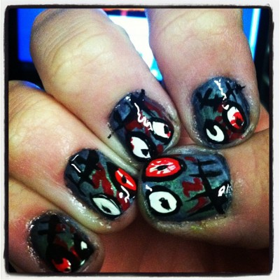 Zombie nails #2. Halloween is almost here :D