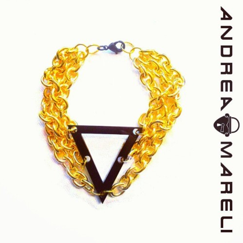 Gold Trilogy Bracelet Available at AndreaMareli.com #andreamareli #acrylic #gold