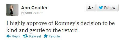 "MMFA:  Conservative commentator Ann Coulter responded to the October 22 presidential debate by referring to President Obama as ""the retard."" Her comments come one month after she appeared as a panelist on ABC's This Week with George Stephanopoulos."