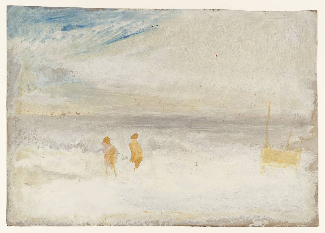 whateverisrealised:   Joseph Mallord William Turner - Two Figures on a Beach with a Boat (1840‑5)