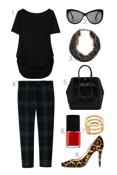what-do-i-wear:  1. Theyskens' Theory Fiola Tee2. Elizabeth and James Crescent Sunglasses3. Iosselliani Twisted Multiwires Necklace4. Tibi Plaid Skinny Beatles Pants5. Pour La Victoire Butler Large Haircalf Tote6. NARS Nail Polish in Dovima 7. Jennifer Zeuner Jewelry Ariana Band Ring 8. Christian Louboutin Particule Leopard-Print Pumps (image: lefashionimage)