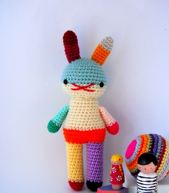 Rainbow Amigurumi Rabbit Doll handmade by rosieok on Etsy This lady is amazing! I've bought off her a number of times now and LOVE everything she does!  :)