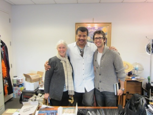 Josh Groban and his mom in Neil deGrasse Tyson's office at the Hayden Planetarium.