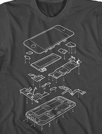 Exploded Phone 5 Printed on American Apparel and available for $19.