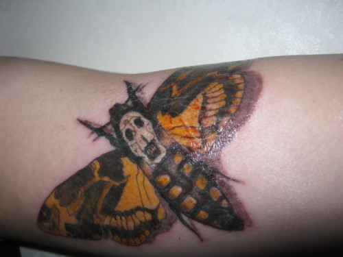 My Death Head Hawk Moth. This was my sixth tattoo and by far the most painful! Boy is the bicep tender. Done by Matt Carter at Everlast Tattoo in Auckland, NZ. Fabulous artist.