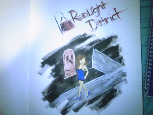 """Redlight District"" I'm not sure what to say about this. I mean, I painted it… I pretty much only like the background scene."