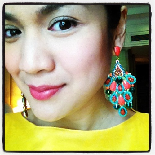 Accessory of the day. #accessories #earrings #coral #turquoise (at Shangri-La Boracay Resort and Spa)