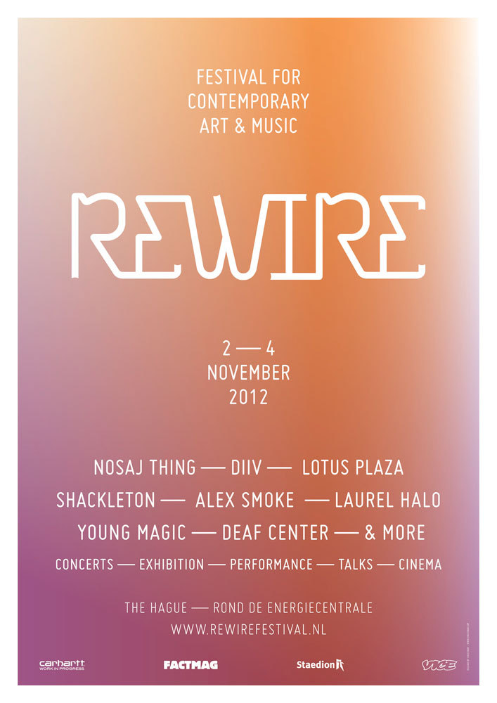 Hyphae is very proud to present Jacob 2-2 [US] Live at the REWIRE Festival on 2 November in The Hague and the RTFKT x Hyphae night on 10 November at OT301 in Amsterdam! More dates will follow soon!sincetoday:  Poster design as part of the Rewire Festival 2012 campaign. More to come soon…
