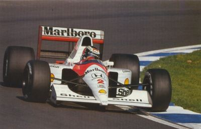 leaning in …Gerhard Berger, Marlboro McLaren-Honda MP4/6, 1991 F1 World Championship