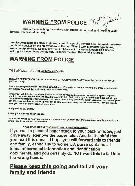 Pass the word so people don't get carjacked!Or just inspect your car first before you open it.