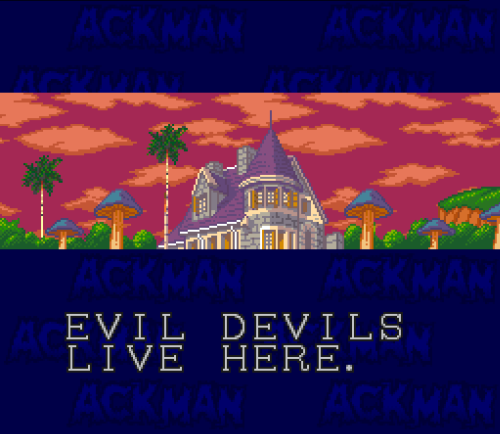 evil devils live here - Go Go Ackman (Banpresto - SNES - 1994) platformer based on the Akira Toriyama anime/manga franchise