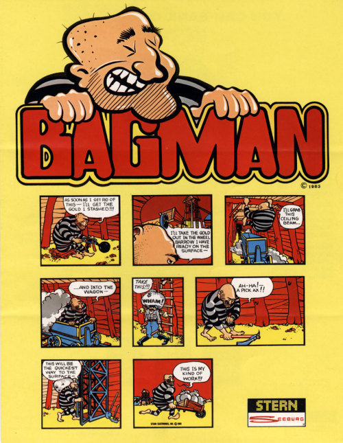 Bagman (1982) arcade flyer by Stern. I posted the marquee earlier this year, which also used this comic. The comic was more interesting on the marquee.