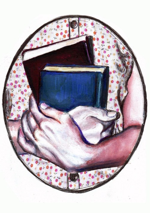 Embracing … books / Abrazando… libros (ilustración de Mary)