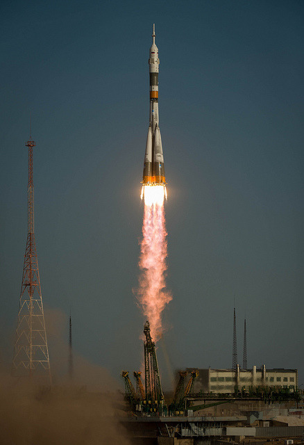 Expedition 33 Soyuz Launch (201210230006HQ) by nasa hq photo on Flickr.Via Flickr: The Soyuz rocket with Expedition 33/34 crew members, Soyuz Commander Oleg Novitskiy, Flight Engineer Kevin Ford of NASA, and Flight Engineer Evgeny Tarelkin of ROSCOSMOS onboard the TMA-06M spacecraft launches to the International Space Station on Tuesday, Oct. 23, 2012, in Baikonur, Kazakhstan. Ford, Novitskiy and Tarelkin will be on a five-month mission aboard the International Space Station.  Photo Credit: (NASA/Bill Ingalls)
