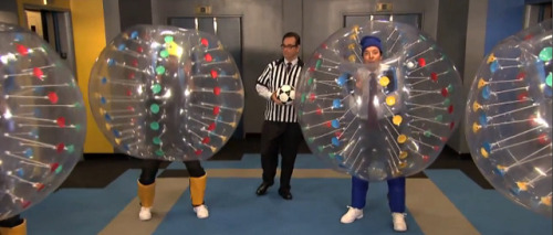 Wu Tang stopped by Jimmy Fallon last night to play Six Directions of Boxing with The Roots (which you can also watch). As a bonus Ghostface and RZA played 'bubble soccer' with Jimmy and Gerard Butler(via Video: Wu Tang Clan plays 'bubble soccer' with Jimmy Fallon)