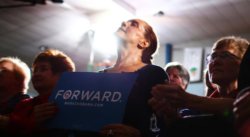 At a campaign event in Canton, Ohio, a supporter of President Obama listened to Vice President Joseph R. Biden Jr.  The personal is the political. The political is transcendent. Source: NY Times