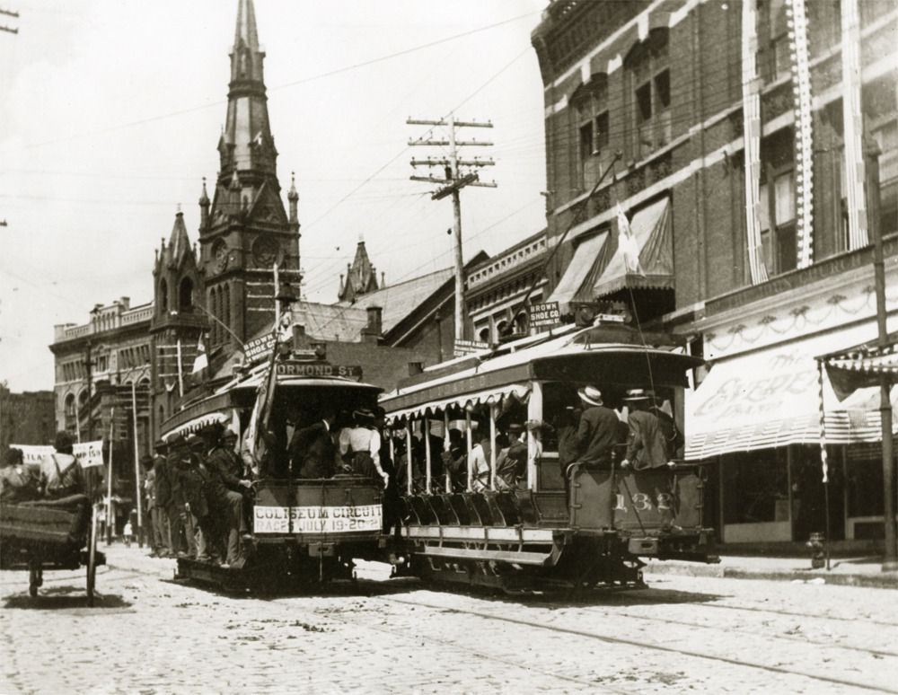 1898 view of streetcars on Peachtree Street. Atlanta's First Methodist Church and DeGive's Opera House (later known as the Loew's Grand Theater) stand in the background. Browse and order prints from our collection.