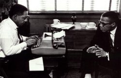 theantikeychop:  Alex Haley, author of Roots, at the typewriter with Malcolm X. The Antikey Chop