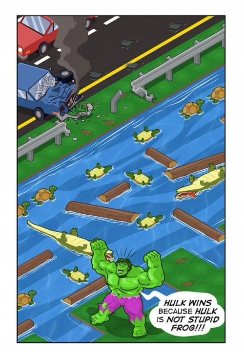 dorkly:  Hulk vs. Frogger It's actually pretty easy being green.