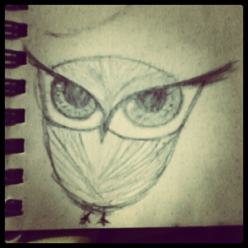It started as an eye for a face then I thought of something else. It's an owl. :3 *bow* #drawing #sketch #owl
