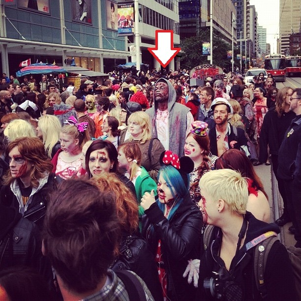thescore:  Amir Johnson of the Toronto Raptors does the Toronto Zombie Walk.