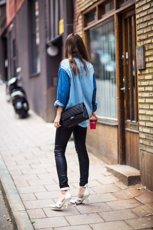 STREET STYLE.  Caroline Blomst of Carolines Mode in our classic leather leggings.