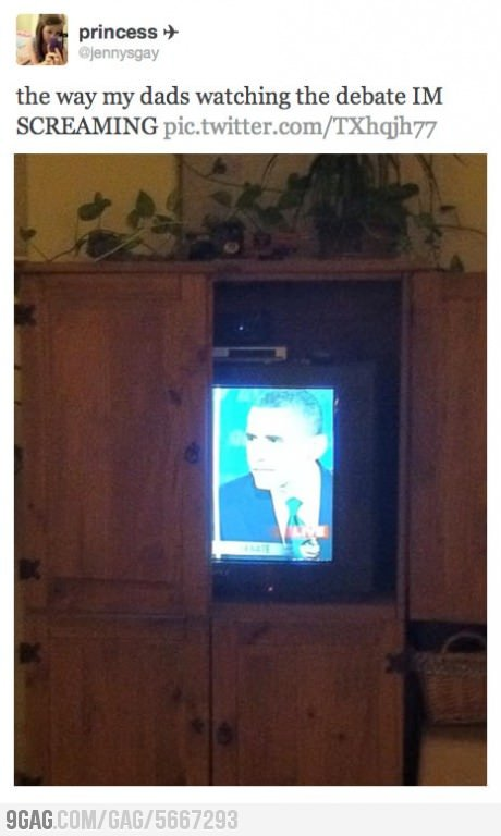 9gag:  How my dad watched the debate