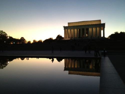 Lincoln Memorial, reflected at sunset —#bikedc commutes rule!