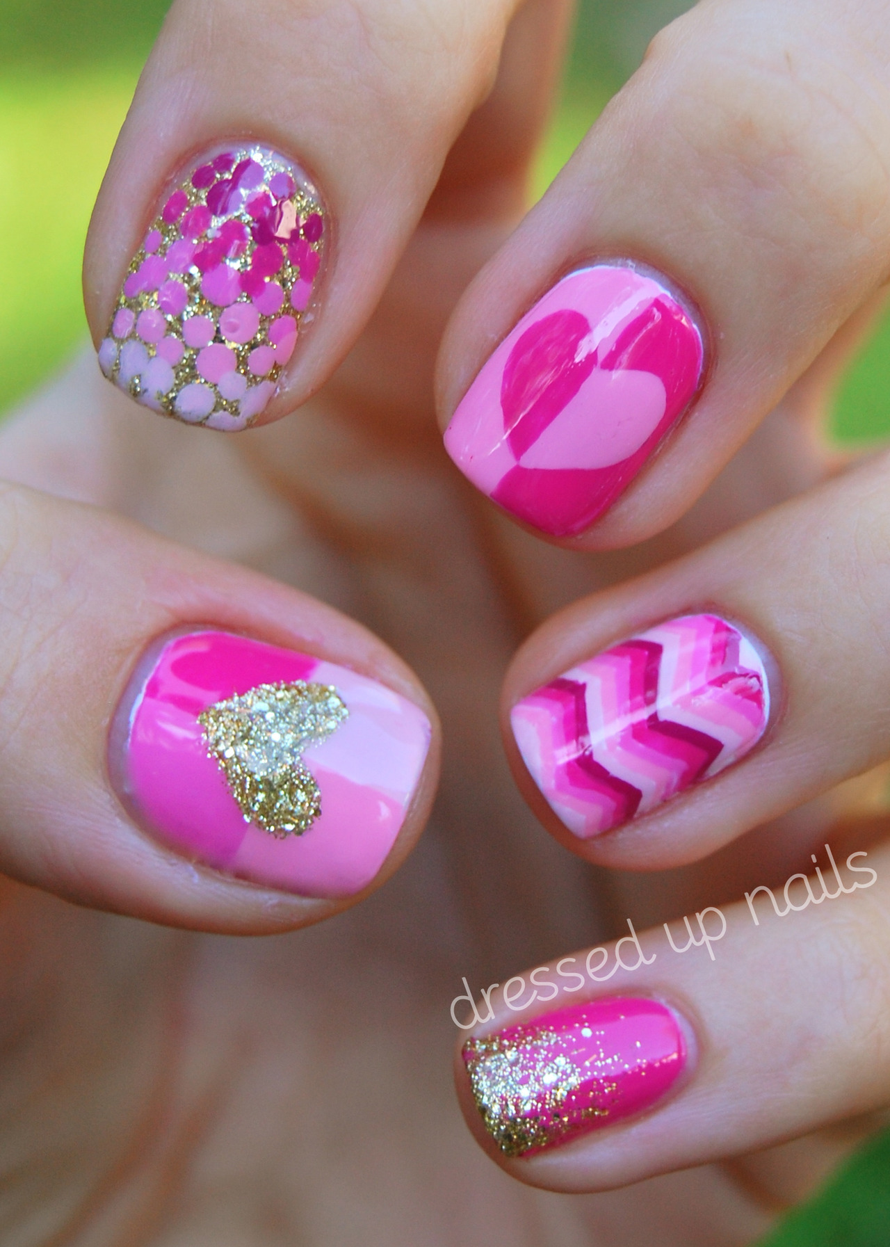 dressedupnails:  HEY GUYS! Sorry I've been quiet the last few days, I did these last Thursday so usually y'all woulda seen them on Friday but they were for a guest post for Carrie (the creator of Sassy Lacquer) so I couldn't show you until today! Carrie is doing a month full of pink and gold manis for BCA and posted in our polish group asking for contributors and I volunteered because I've never done a guest post before and it seemed fun! I've been so into fall colors lately that I wasn't super pumped about this color palette at first but I ended up really loving these. Especially that ring fingah, I wanna do a whole mani like that but my god it was SO TIME CONSUMING. Hope y'all like them too! You can read more about them and the colors I used, etc. over at Carrie's blog! Also, are you hanging out with me on Facebook yet?!??!??!?