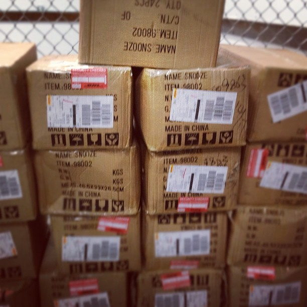 distilunion:  Snooze shipments are arriving! (at Goodwill Park)  the boxes say SNOOZE!!!!!! This makes me happy.