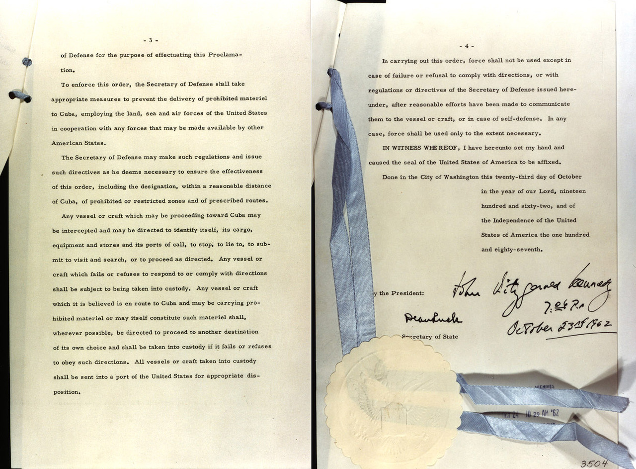 "jfklibrary:  Pages 3 and 4 of Proclamation 3504, authorizing the naval quarantine of Cuba, signed 50 years ago today, October 23, 1962. See the other pages here. (source: jfklibrary.org)   The National Archives' latest exhibit: ""To the Brink: JFK and the Cuban Missile Crisis"" covers the 13 days when the world teetered on the brink of thermonuclear war."