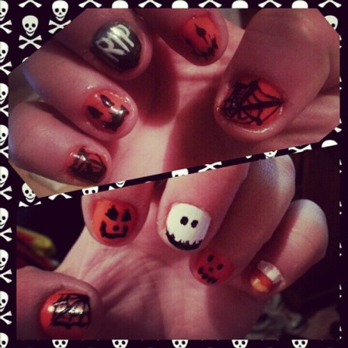My #halloween #nails … #rip #jackolantern #spiderweb #ghost #goblin #holiday #manicure #diy
