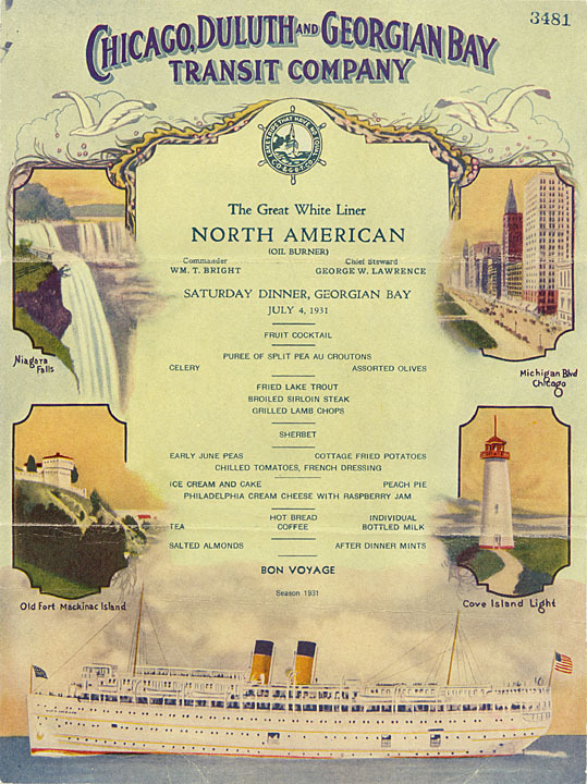 Saturday dinner menu for the steamer ship North American, July 4, 1931.  via: Great Lakes Maritime History Project, Wisconsin Historical Society by way of University of Wisconsin Digital Collections