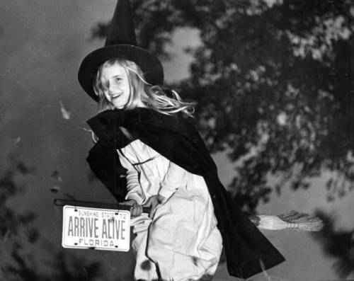Leslie Dughi dressed as a witch for Halloween in Tallahassee, Florida 1972