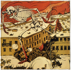 death cartoon skeleton Russia revolution Starvation caricature 1900s 1906 famine influenza Boris Kustodiev cholera