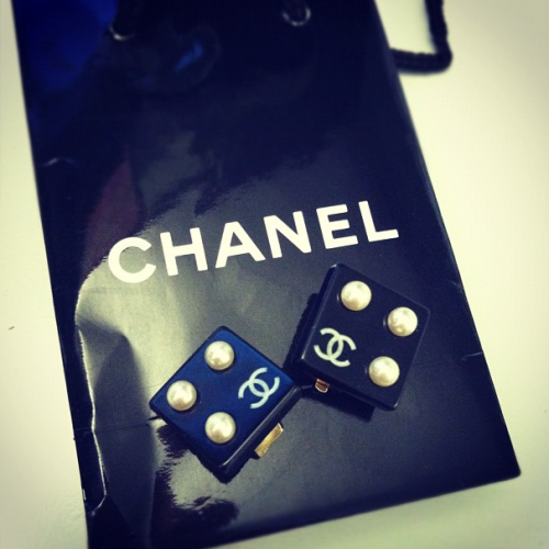 Vintage Chanel dice earrings Photographed by Lauren Drago