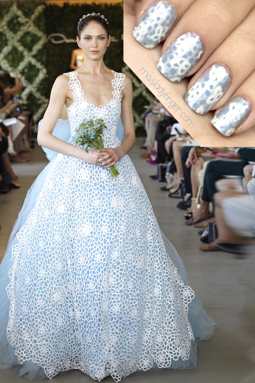 "BRIDAL SERIES: Oscar de la Renta Spring '13 Bridal If you're a Fall '12 bride, chances are you've already said ""yes"" to your dress, so the next installment of the MLF Bridal Series is for the Spring bride… Click here for polish colors and How-To Get These Ladyfingers."
