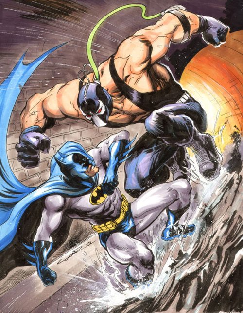 comicsforever:  Batman vs. Bane // artwork by Yildiray Cinar (2012) Inks & color markers - NYCC preshow commission