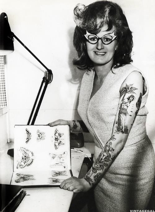 vintagegal:  Tattoo artist Cindy Ray in her studio, Australia c. 1960's