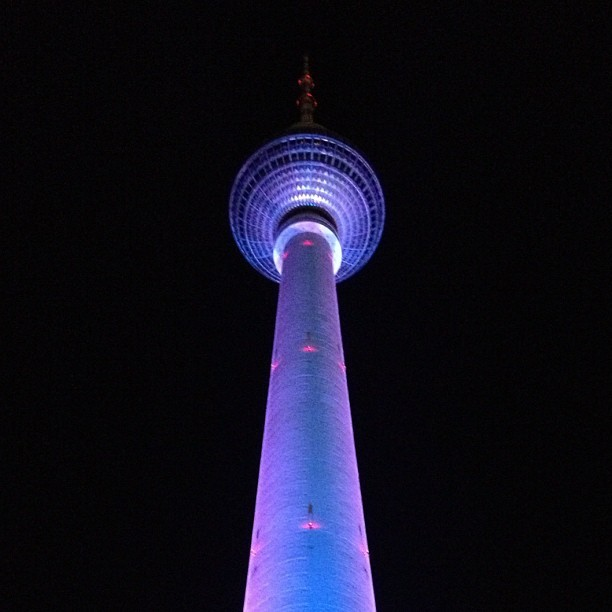 TV tower @ festival of lights. #berlin #fernsehturm #tvtower #tower #architecture #illumination #festivaloflights #festival #city #lights #blue #purple #alexanderplatz #instacrazy #instamania #iphone4s #iphoneography #igdaily #picoftheday #designer #igers #germany (at Fernsehturm | Berlin TV Tower)